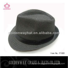 Paper Straw Fedora Sun Hat black professional hats factory for sale
