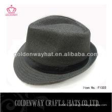 Palha de papel Fedora Sun Hat fábrica de chapéus chapéus preto para venda