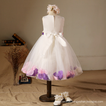 Rosa roxo pétala vestidos de festa vestidos de aniversário de natal 2017 BABY GIRLS novos estilos de roupas de casamento meninas de flor
