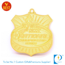 Customized High Quality Zinc Alloy Gold Plating Football Medal with Pressure Stamping