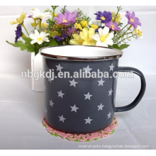 enamel drinkware 350ml cup with SS rim