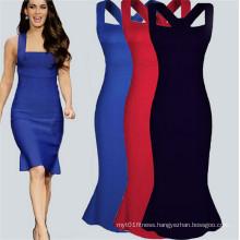 Latest Design Strapless Ruffled Sexy Bandage Dress (101)