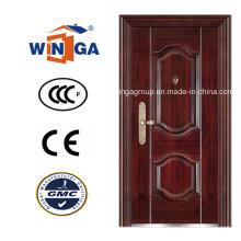Porta de aço inoxidável de segurança em aço inoxidável de madeira de construção clássica (WS-107)