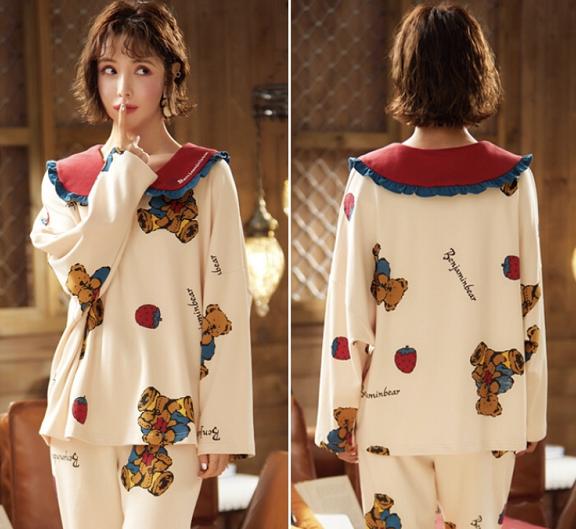 Womens Long Sleeved Nightwear Pajamas