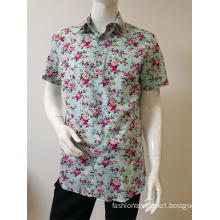 men's print short sleeve shirt 100%COTTON slim fit