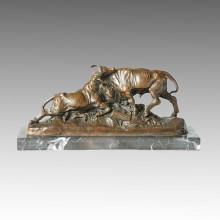 Animal Bronze Sculpture Cattle Carving Deco Brass Statue Tpal-150