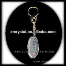 Chaveiro de cristal LED com imagem 3D gravado a laser dentro e em branco chaveiro de cristal G032