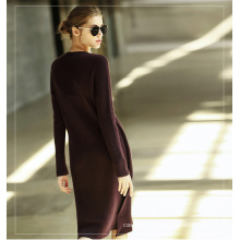 Women′s Cashmere Dress with Round Neck 13brdw103