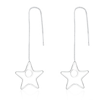 Star Pendant Silver Plated Girls Earrings Made in Yiwu