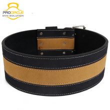 Procircle Cross Fitness Black And Yellow Color Leather Weightlifting Belt
