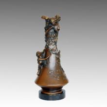 Ваза Статуя красоты Леди Бронза Jardiniere Скульптура TPE-577