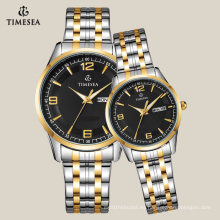 Reloj casual para pareja con banda de acero inoxidable de 2 tonos 70023