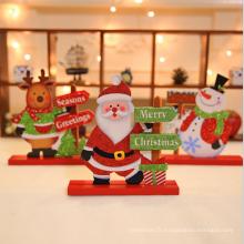 Ornement de table en bois de décoration de Noël de vente chaude pour la maison et le magasin