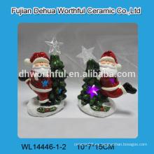 Figurilla de cerámica de santa claus, decoración de Navidad de cerámica para led