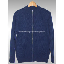Semi-high collar zipper cashmere cardigan