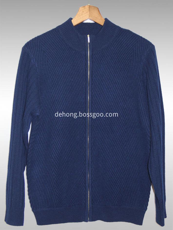 Navy Blue Zipper Cashmere Cardiga