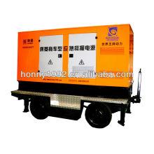 Groupe électrogène silencieux diesel 3 phases 150 kVA sur remorque