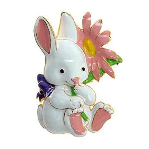 Cute Retro Easter Bunny Enameled Metal Brooch