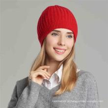 chapéu de malha de inverno, mulheres, caxemira, malha de malha com nervuras