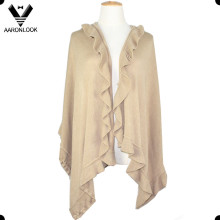 Women Winter Oversize Solid Color Elegant Acrylic Cashmere Shawl Agaric Edge