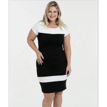 Платье с короткими рукавами и круглым вырезом Платье больших размеров