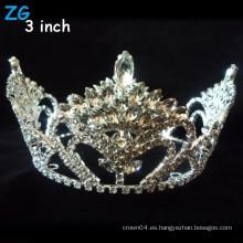 Hermoso completo de cristal de belleza ronda coronas de desfile, coronas nupciales redondas personalizadas completa redonda para la reina