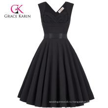 Грейс Карин оптовые милая рукавов V-обратно высокий эластичный Ретро винтажный черный вечернее платье CL008948-1