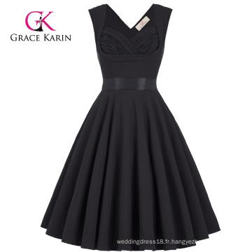Grace Karin vente en gros Sans manches sweetheart V-Back Robe de soirée noire vintage rétro extensible CL008948-1