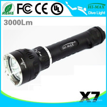 High Lumen Snorkel Dive Flashlight Magnetic Switch on Land/Underwater use X7