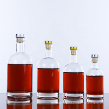 Stocked 1000ml 750ml 500ml liquor bottles vodka glass bottle with cork top lid