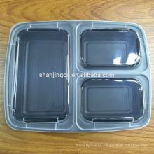 Contenedores de comida plásticos de la microonda de Bento de la caja del almuerzo de la fábrica de China 3-compartimientos para los niños