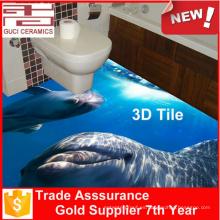 barato azulejo de piso de cerámica del azulejo 3d del cuarto de baño del vidrio de mar para los diseños de los azulejos