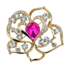 Broche de cristal de la flor de Rose de oro VAGULA