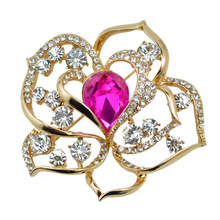 VAGULA Gold Plated Rose Flower Crystal Brooch