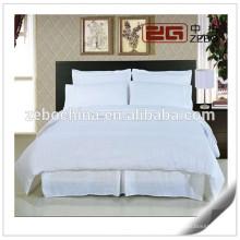 100% algodón blanco Jacquard tela tamaño personalizado Hotel cama conjuntos completo