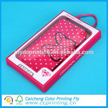 Brand name cell phone case package with transparent window