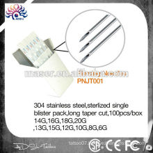 Non-toxic EO gas sterlized tattoo piercing needles 316L stainless steel body piercing needles