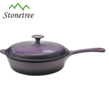 Pote de frigideira de esmalte de ferro fundido com tampa / frigideira de esmalte de ferro fundido com tampa / frigideira