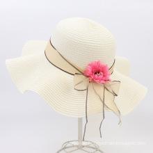 Ladies Straw Hat Outdoor Sun Protection Flower Beach Hat New Style Big Brim Sunhat Spring and Summer Raffia Straw Bucket Hat