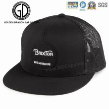 Forme a nuevo el sombrero negro de alta calidad simple de Snapback con el bordado tejido de la insignia