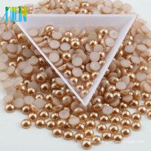 Wholesale Rose Color Plastic Half Round Pearl Non Hotfix Loose Pearl 8mm