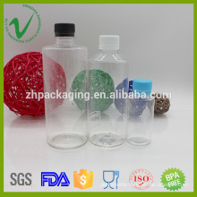 Transparent food grade empty juice PET plastic bottle with tamperproof cap