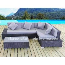 PE Rattan y muebles de aluminio, sofá de ratán de esquina Muebles al aire libre