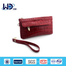 Crocodile grain Red small PU handbag