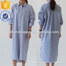 Vestido de la camisa de Longline de la raya a rayas Fabricación Ropa de las mujeres de la manera al por mayor (TA3155D)