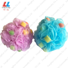 Round Shape With Heart Shape Colorful Bath Sponge