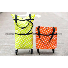 OEM Polyester Fashion Folding Wheel Handle Shopping Bag