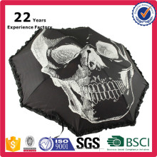 Skull Design Top Quality 3 Folding Heat Transfer Full Color Printed Umbrella
