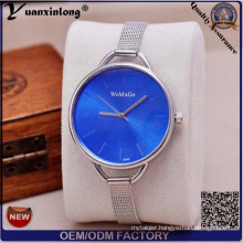 Blue Brushed Sunray Dial Silver Stainless Steel Mesh Band Slim Ladies Watch