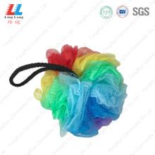 Rainbow colorful bath mesh ball